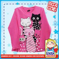 Baju Anak Perempuan/Kaos Lengan Panjang Anak Perempuan Motif Group Cat