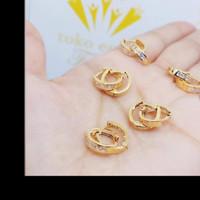 anting emas 375 ring bulat tebal 1gram