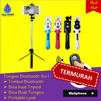 tongsis 3in1 tripod tomsis tombol bluetooth holder handphone