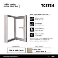 TOSTEM Aluminium Jendela Swing Kanan (Casement R), View - 500 x 1000 mm, Natural White