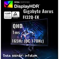 Gigabyte Aorus FI32Q EK 32 Inch - QHD IPS 165hz 1ms DP Gaming Monitor