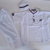 setelan baju koko anak laki-laki turkis baju muslim koko modern - Putih, 1