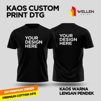 Kaos Lengan Pendek warna Print DTG Custom / T-Shirt Cetak Sablon