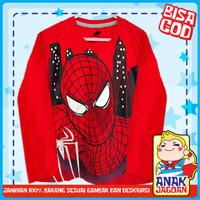 Baju Anak laki/Kaos Lengan Panjang Anak Laki-Laki Motif Spiderman Face - 1-2 tahun