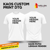 Kaos Lengan Pendek putih Print Custom / T-Shirt white Cetak Sablon DTG