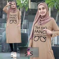 Tunik Kaos Muslimah Blouse Atasan Muslim Wanita Baju Hijab Dress Busui