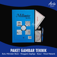 PAKET GAMBAR TEKNIK (Milimeter Block, Penggaris, Busur dan Pensil)