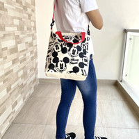 Tas Kanvas Tote Bag Mickey Donald Minnie Mouse canvas Bag