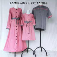 baju cople keluarga family gamis ibu kemeja ayah & anak hem dewasa abu