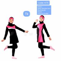 Baju renang anak TK perempuan muslim/pakaian renang anak cewek hijab - K75, M