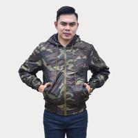 Emoline Bomber Jacket Army - Jaket Bomber Loreng Army Coklat Tua