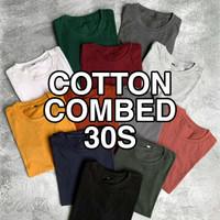 KAOS POLOS COTTON COMBED 30S LENGAN PENDEK COWOK & CEWEK O-NECK - M, Putih