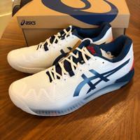 Sepatu Tennis Tenis Asics Gel Resolution 8 White Mako Blue Original