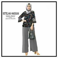 Setelan Anggun, Baju dan celana panjang wanita muslim terbaru terkini - Abu-abu, L