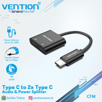 Vention CFM Converter Type-C to Dual Type-C Audio Adapter with Power