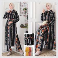 baju setelan wanita kekinian set fashion muslim kemeja - Black