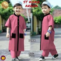 Stelan Koko Anak ARKHA Stelan Jubah anak Baju Koko Trendy Baju Lebaran - Pink, S (5-8 tahun)