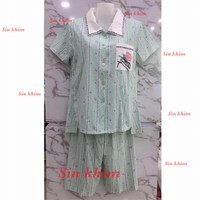 Baju tidur import celana 3/4 kaos kerah nyaman