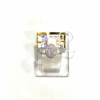 Cincin Wanita Oval Diamond Look Emas Putih 750