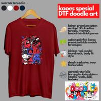 Baju Kaos Distro Sablon Satuan DTF Doodle Art Oblong Murah Keren Unik