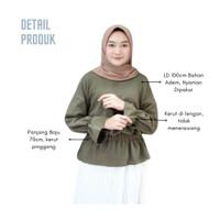 Pakaian Atasan Wanita Blouse Cewek Lengan Panjang Kerut Alin Top - army green