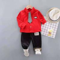 Baju Setelan import Long T-shirt anak laki laki umur 1-4 tahun - Merah, S