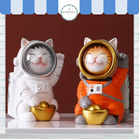 Pajangan Dekorasi Patung Fortune Cat Astronot Costume Nordic Decor