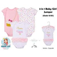 JUMPER IMPOR 3 IN 1 BABY GIRL / BAJU BAYI PEREMPUAN KADO BABY NEW BORN - cupcake, 6-9 bulan
