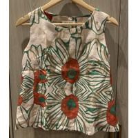 Preloved baju atasan blouse wanita tanpa lengan bunga G023