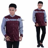 baju koko pria baju koko motif 4G maroon produk original Asakhi - Merah, S