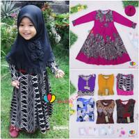 Gamis Pita Uk 1-7 Tahun / Gamis Anak Baju Dress Muslim Ngaji Murah - 2-3TH, Kombinasi Gelap