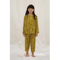 Sare Studio Praya Parigi Kids Long Sleeve Set in Green Flower - 4-6 Yo