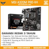 MSI A320M PRO-VH AM4 RESMI DDR4 NVMe MOTHERBOARD MAINBOARD AMD A320