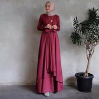 Gamis Wanita Dewasa Gaun Pengantin Kombinasi Brukat Baju Muslim Trendy - Maroon, S