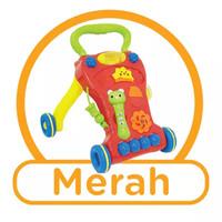 Baby Walker Newbie Tech Baby Push Walker-Alat Bantu Bayi Belajar Jalan - Merah