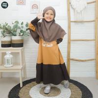 Gratis Jilbab Bergo Baju Gamis Anak Perempuan 3 - 15 Tahun Nuhaa Kids - Almond Brown, S