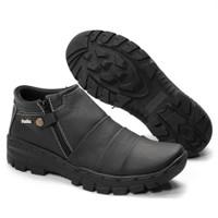 Sepatu Boot pria Boots Touring Traveling Zipper Handmade Fordza BKS 09 - Hitam, 39