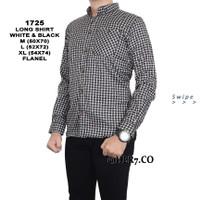 Baju Kemeja Flanel Lengan Panjang Pria Kemeja Santai - Putih, M