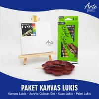 PAKET KANVAS LUKIS (Kanvas Lukis, Cat Acrylic, Kuas dan Palet)