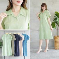 Midi Shirt Dress Wanita Casual Lengan Pendek Katun Kiyomi Busui