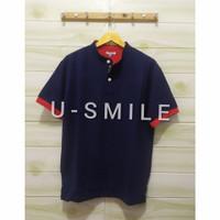 kaos polo shirt pria#kerah shanghai#premium quality - biru navi, M