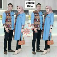 MTF Baju Couple Koko Batik Muslim Pakaian Lebaran Cowok Cewek Binar