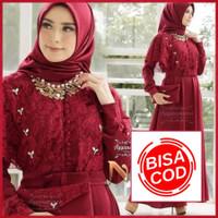COD - Baju Kebaya Gamis Brukat Jumbo Nadine Brokat Dress Wanita Murah