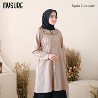 Baju atasan muslim long tunik kantor wanita murah terbaru agalia