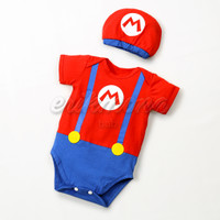 baju bayi jumper bayi karakter mario bros lucu - S