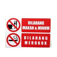 sign stiker dilarang makan dan minum / dilarang merokok sticker - Merah, 20x15