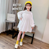 BAJUKIDDIE BETH WHITE DRESS LENGAN PANJANG ANAK PUTIH BUNGA KATUN - 130