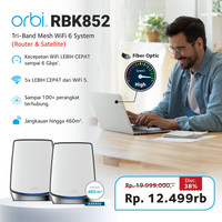 Netgear RBK852 Orbi Tri Band WiFi Mesh System AX6000 RBK 852