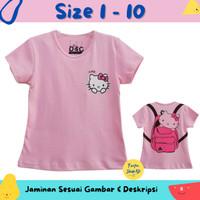 Baju Anak Perempuan / Kaos Lengan Pendek Motif Hello Kitty Pink 1-10