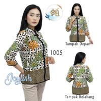 1005 Blouse Batik Daun Kancing Shanghai - Atasan Blus Kemeja Wanita Ba - S